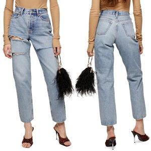 TOPSHOP Sofia Ripped Mom Jeans